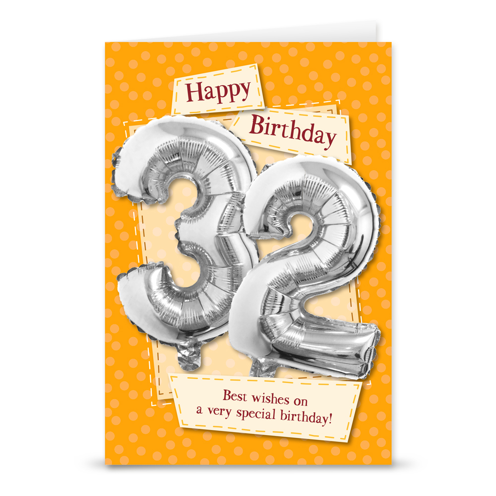 Happy 32nd Birthday Card With Metallic Age Balloon Inside