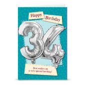 Happy 34th Birthday Card With Metallic Age Balloon Inside & Straw To Inflate