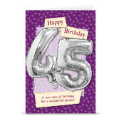 Happy 45th Birthday Card With Metallic Age Balloon Inside & Straw To Inflate