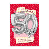 Happy 50th Birthday Card With Metallic Age Balloon Inside & Straw To Inflate