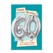 Happy 60th Birthday Card With Metallic Age Balloon Inside & Straw To Inflate
