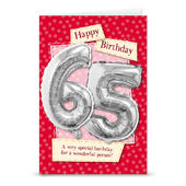 Happy 65th Birthday Card With Metallic Age Balloon Inside & Straw To Inflate