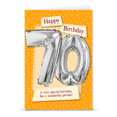 Happy 70th Birthday Card With Metallic Age Balloon Inside & Straw To Inflate