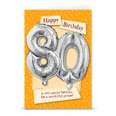 Happy 80th Birthday Card With Metallic Age Balloon Inside & Straw To Inflate