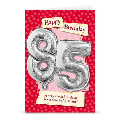 Happy 85th Birthday Card With Metallic Age Balloon Inside & Straw To Inflate