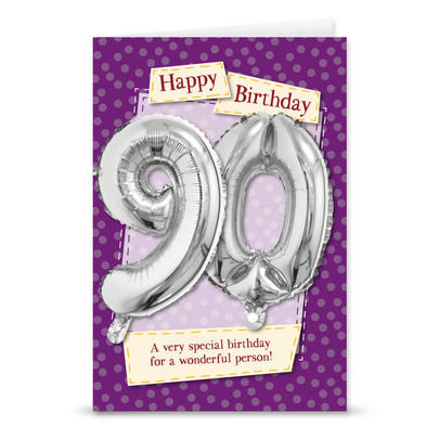 Happy 90th Birthday Card With Metallic Age Balloon Inside & Straw To Inflate