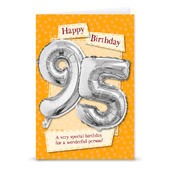 Happy 95th Birthday Card With Metallic Age Balloon Inside & Straw To Inflate