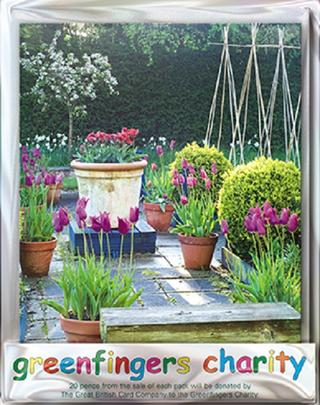 Pack of 4 Potted Tulips Greenfingers Blank Charity Greeting Cards