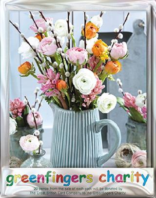 Pack of 4 Spring Bouquet Greenfingers Blank Charity Greeting Cards