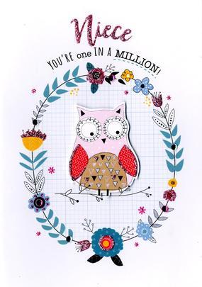 Niece Owl In Wreath Birthday Greeting Card