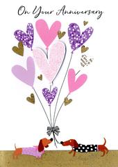 On Your Anniversary Heart Balloons Greeting Card