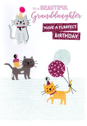 Granddaughter Purrfect Birthday Greeting Card