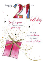 Female Happy 21st Birthday Greeting Card