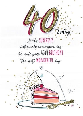 Most Wonderful 40th Birthday Greeting Card