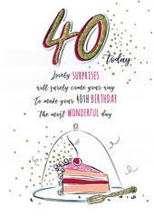 Most Wonderful 40th Birthday Greeting Card