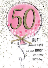 Female 50th Pink Balloon Birthday Greeting Card