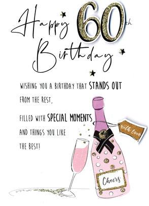 Champagne Happy 60th Birthday Greeting Card