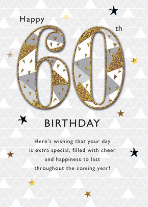 Happy 60th Embellished Birthday Greeting Card