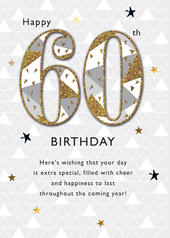 Happy 60th Embellished Birthday Greeting Card
