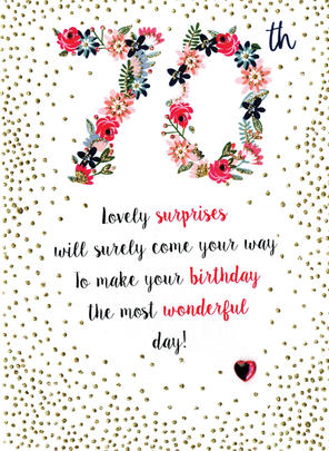 Lovely Surprise 70th Birthday Greeting Card