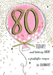 Female 80th Pink Balloon Birthday Greeting Card
