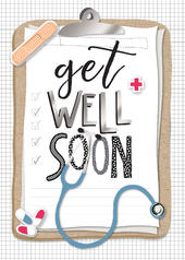 Get Well Soon Doctor Clipboard Greeting Card