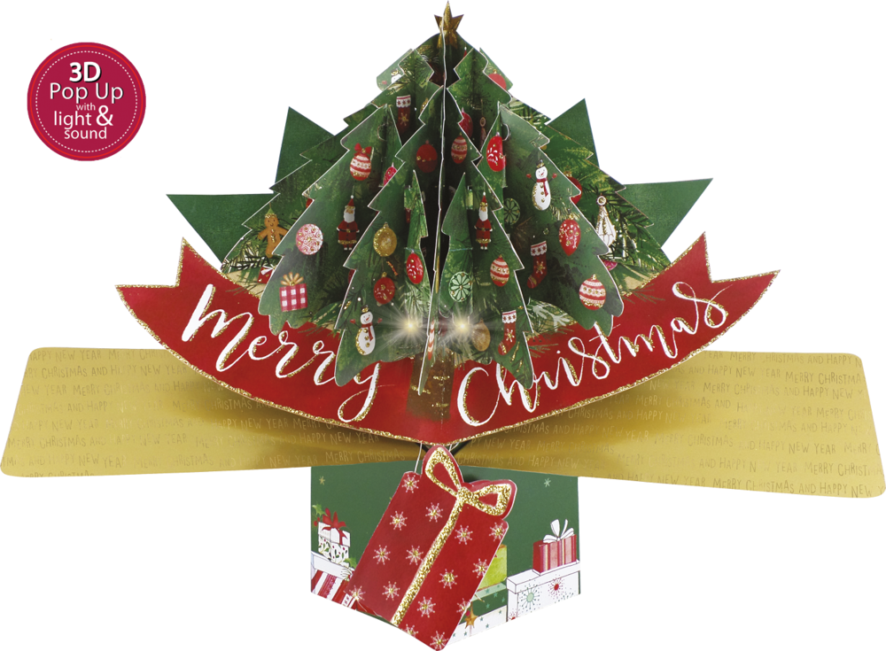 Musical 'Rockin' Around The Christmas Tree'  3D Light & Sound Pop-Up Christmas Card
