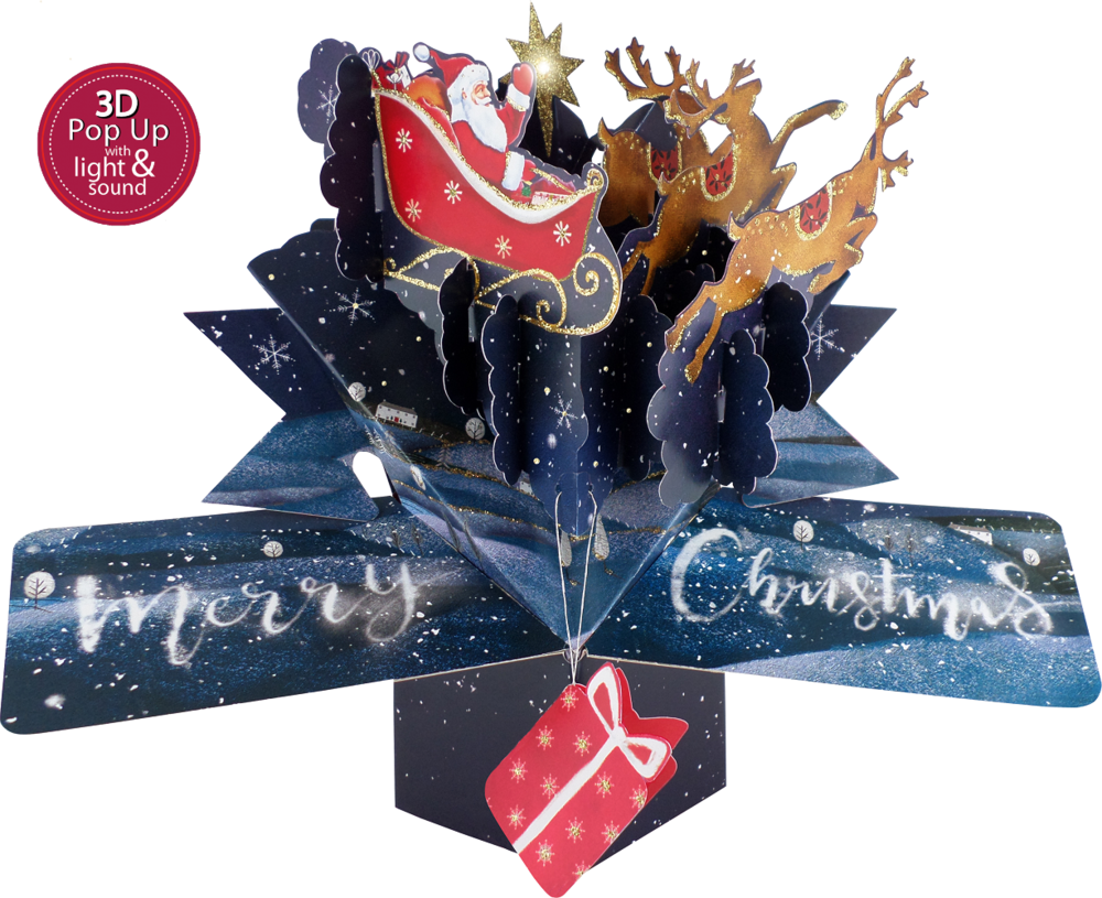 Musical 'Santa Claus Is Coming To Town'  3D Light & Sound Pop-Up Christmas Card