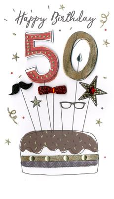 Male Happy 50th Birthday Greeting Card Hand-Finished