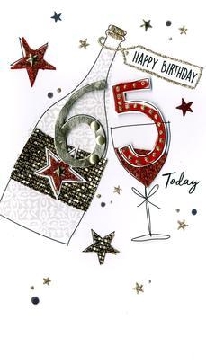 Happy Birthday 65th Birthday Greeting Card Hand-Finished