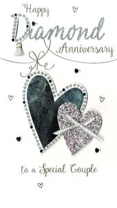 Happy Diamond Anniversary Greeting Card Hand-Finished