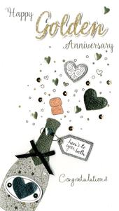 Happy Golden Anniversary Greeting Card Hand-Finished
