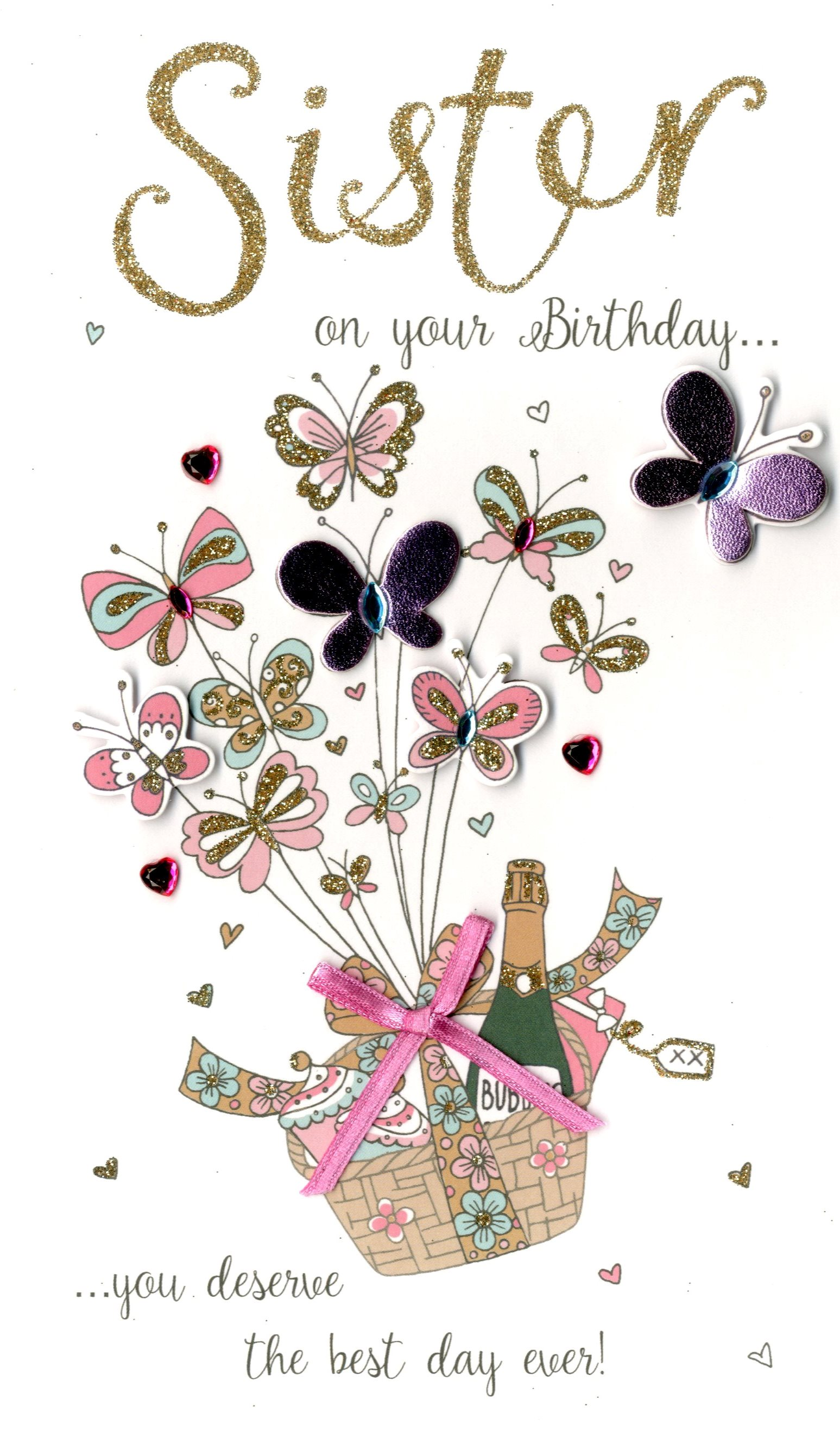Sister On Your Birthday Greeting Card Hand Finished Cards
