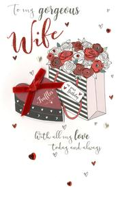 To My Gorgeous Wife Birthday Greeting Card Hand-Finished