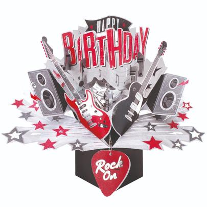 Happy Birthday Rock Pop-Up Greeting Card