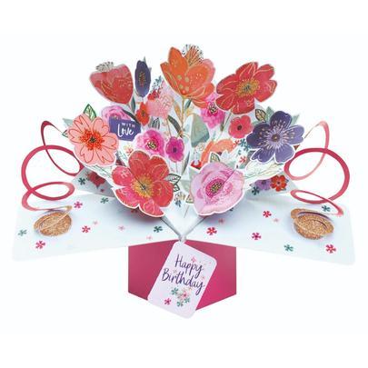Birthday Flowers Pop-Up Greeting Card
