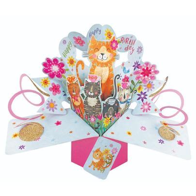 Happy Birthday Cats Pop-Up Greeting Card