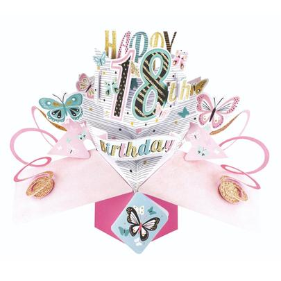 Female 18th Birthday Pop-Up Greeting Card