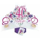 Happy 40th Birthday Pop-Up Greeting Card
