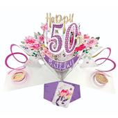 Flowers 50th Birthday Pop-Up Greeting Card