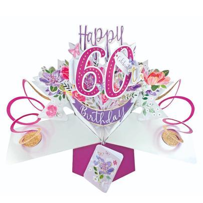 Female 60th Birthday Pop-Up Greeting Card