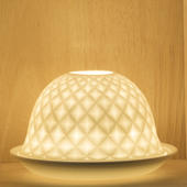 Nordic Lights Diamond Pattern Bone Porcelain Candle Shade