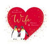 Wonderful Wife Penguins Valentine's Day Greeting Card