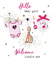 Hello Baby Girl Welcome Little One Irresistible Greeting Card