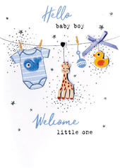 Hello Baby Boy Welcome Little One Irresistible Greeting Card