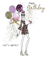 Happy Birthday Let's Party Irresistible Greeting Card