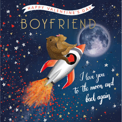 Boyfriend To The Moon & Back Valentine's Day Greeting Card
