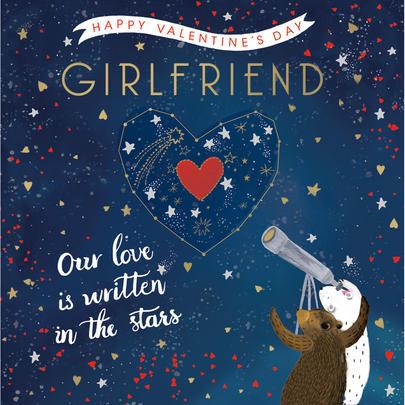 Girlfriend Written In The Stars Valentine's Day Greeting Card