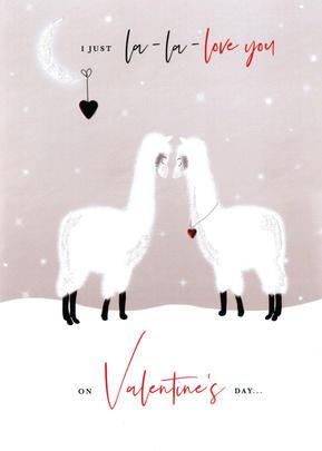 La-La-Love Llamas Valentine's Day Greeting Card