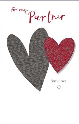 For My Partner With Love Embellished Valentine's Day Greeting Card